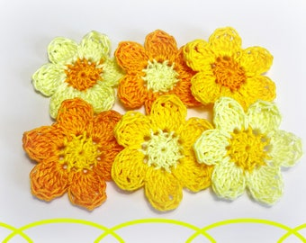"applique 6 ""5 cm (2) yellow and orange crochet flowers"