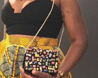 African Beaded Toffee clutch - Natural African earth stones/ glass beads
