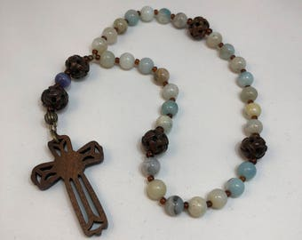 Protestant Prayer Beads - FREE gift chaplet with purchase - Anglican / Christian Prayer Beads / Methodist / Wooden cross / Amazonite