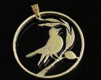 Cut Coin Pendant Cyprus 20 cents Cypriot Pied Wheatear bird Nicosia Greek