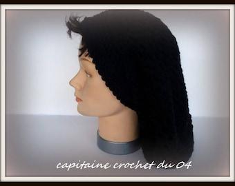 Hanging Hat Rasta Boho Hipster black hand made Crochet Tam beret Hat