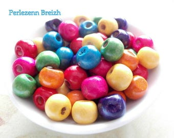 100 wooden beads colors multicolor 8mm round