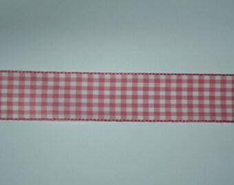 Ribbon gingham pink 2.5 cm x 1 meter