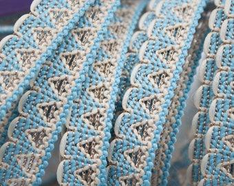 Blue white silver 1.3 cm x 1 m Lurex stripe