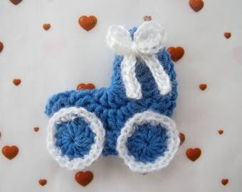 Cradle, pram, stroller - crochet applique