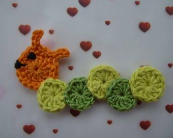 Caterpillar - handmade cotton crochet application