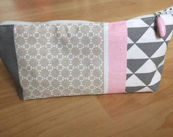 printed pink and grey cotton pencil case