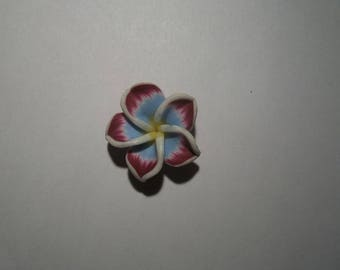 large flowers polymer clay purple and blue 25 mm