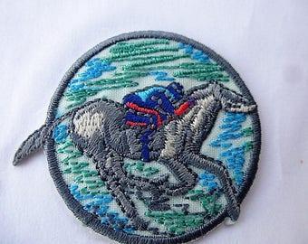 applique patch race HYPPIQUE 5 coat vintage sewing patch glue or sew