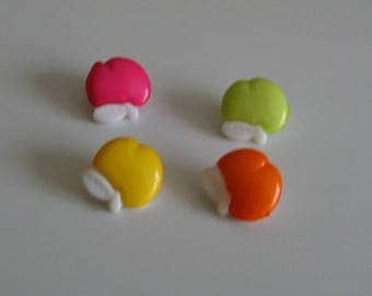 Set of 4 buttons apples for colourful knitting sewing set no. 13 mm 2