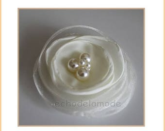 supplies for wedding accessories, CEREMONIES, 1 ivory organza flower beads and white imitation Pearl