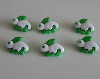 Set of 6 buttons green and White rabbits for knits sewing 21 mm X 15 mm