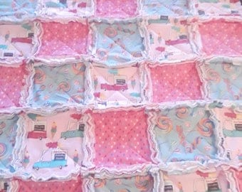 Ice cream truck and sparkling Lollipop, baby girl's pink and mint rag quilt with fleece and flannel.