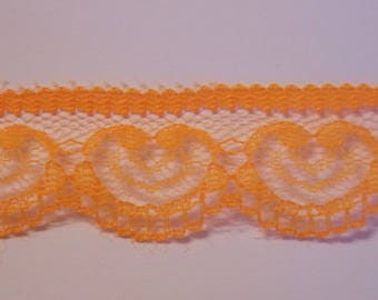 1 meter pretty lace with orange hearts
