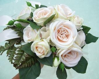 bridal bouquet, roses, romantic pink beige