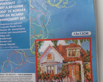 Kit to embroider - beautiful home surrounded by flowers - Amsterdam