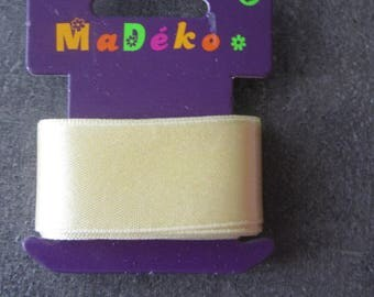 Satin ribbon double sided light yellow or cream - 2 meters long