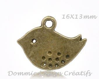 1 pendant charm cheep cheep Bronze 16 x 13 mm