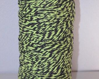 Cotton (boring) created crochet black - mottled lime green