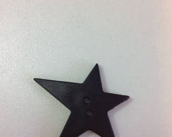 Star decoration button - resin Black 2 holes