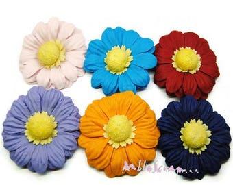 Set of 6 large flowers embellishment scrapbooking model 2 (ref.810) paper *.