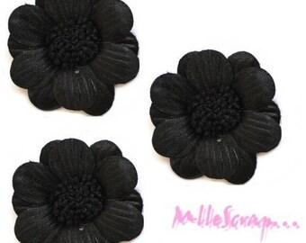 Set of 5 large flowers black fabric embellishment scrapbooking card *.