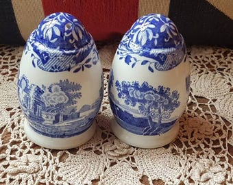 "Vintage ""Spode"" Italian Blue and White Salt and Pepper Shakers- Made in England!"