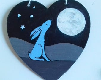 Moon Gazing Hare, Hanging heart , Hand painted, Moon, Hare, Pagan gift, Wiccan Gift,  Heart Wall Art,  Pagan Birthday, Valentines Gift