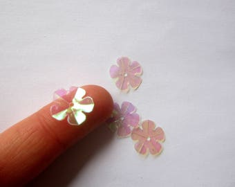 Set of 10 flowers transparent iridescent pierced for all your crafting