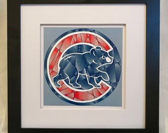Chicago Cubs digital shatter art print // back to school // college dorm decor // Chicago sports