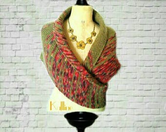 Asymmetric shawl khaki and pink
