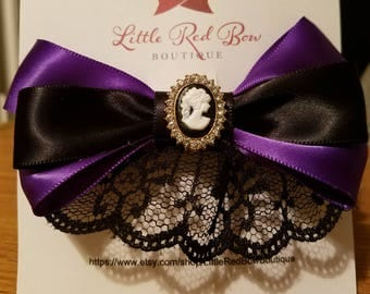 Purple with black lace, Victorian inspired hair bow