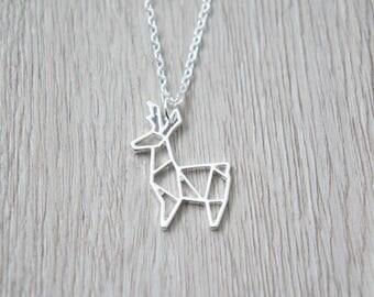 So origami - silver deer pendant necklace