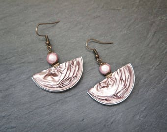 Earrings capsules of coffee - powder pink half-moon
