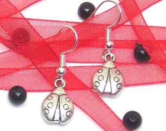 Ladybird Drop / Dangle Earrings, Tibetan Silver Earrings, Gift for her, Valentines gift, Mother's day gift