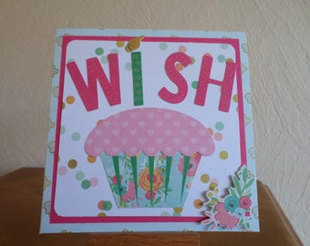 card with cake and WISH