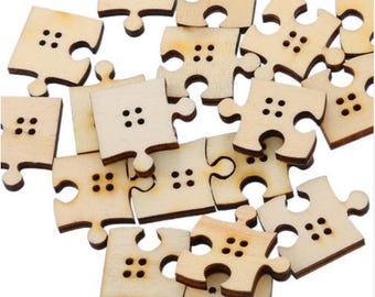 Set of 10 wooden Puzzle buttons
