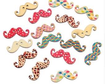 Set of 10 wooden mustache buttons