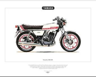 YAMAHA RD400 Motorcycle Fine Art Print - Seventies Twin