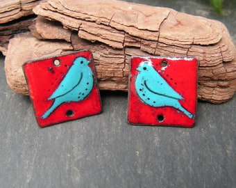 brass charms enameled (hot) connectors birds, red, blue, black