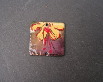 copper charm enamelled (hot) pendant necklace yellow flower