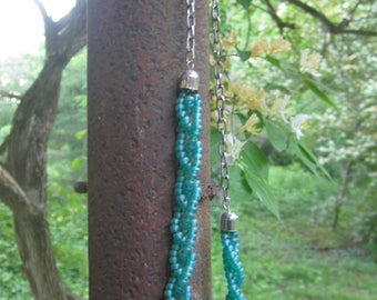 Braided Green Bead Necklace