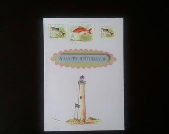 Fishing  birthday greeting card blank inside