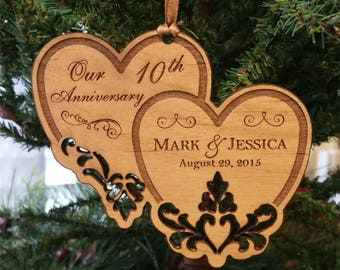 Personalized Ornament, Anniversary Ornament, 1st Anniversary, 10th Anniversary, 25th Anniversary