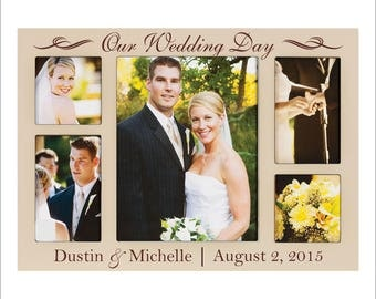 """Personalized Wedding Frame, Wedding Collage, """"Our Wedding Day"""" Great Wedding Gift, Wedding Photo Frame, Custom Picture Frame"""