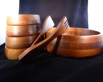 WALNUT WOOD Salad Bowls + Serving Bowl + Tongs by VERMILLION Set of 5 (Free Shipping)