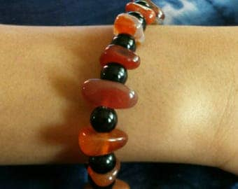 Elastic bracelet Black Brown amber glass beads ethnic African Mauritania