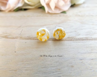 Stud Earring rond mini : Azulejos of Porto yellow