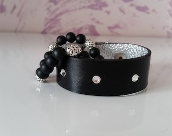 Natural leather and beads complect