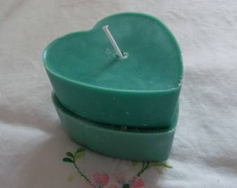 Dark green and green duo heart candle